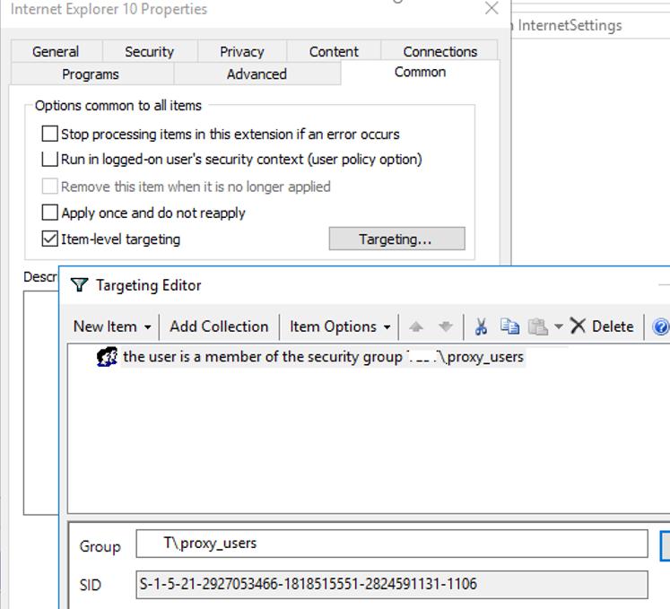 proxy server item level gpo targeting