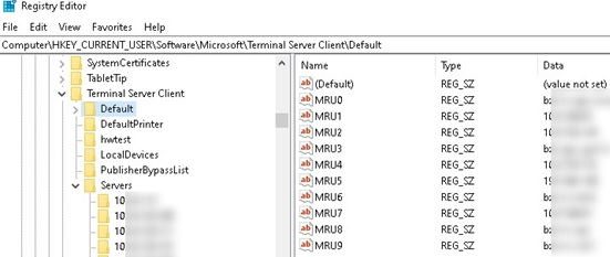 mstsc rdp client history in windows registry