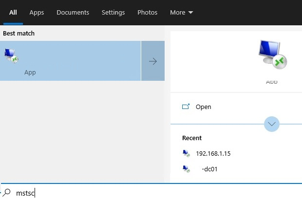 rdp: recent items jump lists on windows 10