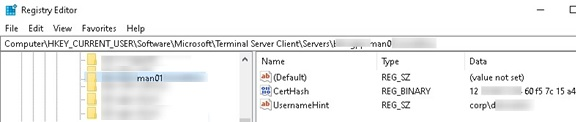 rdp history in registry: saved host and username