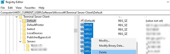 remove recent rdp entires from registry
