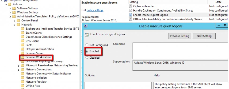 Win 10 1709 GPO: Enable insecure guest logons