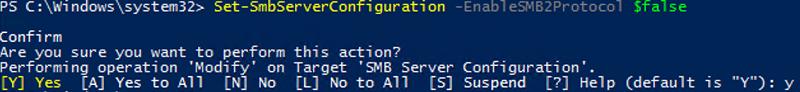 Dsable smb2 using set-smbserverconfiguration cmdlet