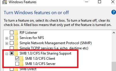 enable SMB 1.0/CIFS Client on Windows 10 1709