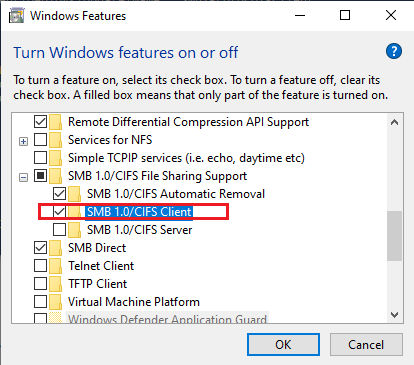 enabling SMB 1.0/CIFS File Sharing Support feature on Windows 10
