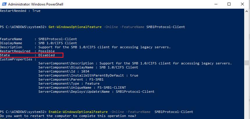 Get-WindowsOptionalFeature - get SMB1Protocol-Client state