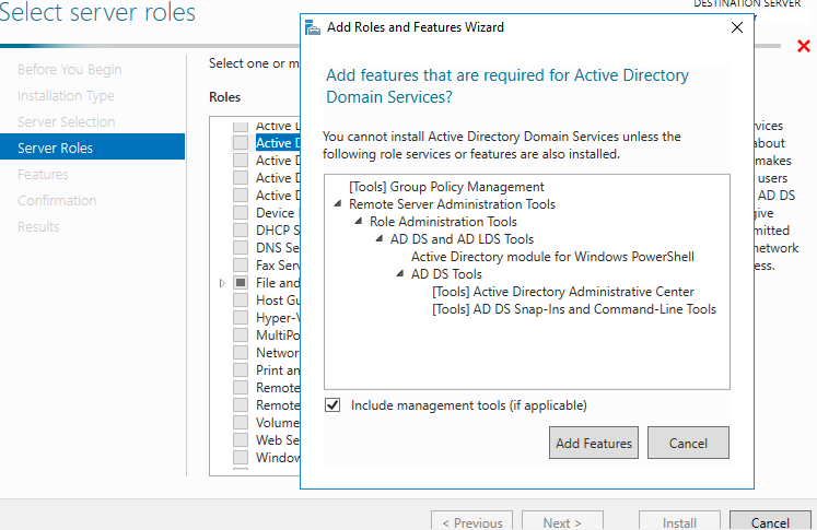 installing Active Directory Domain Services role windows 2016