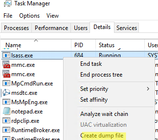 lsass.exe - create dump file