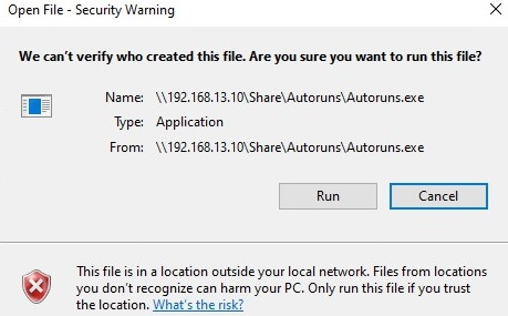 open file security warning on windows 10 when running files from shared folders