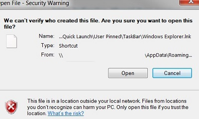 open file security warning when opening shortcut on folders redirected
