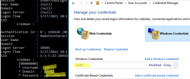 view plain text password stored in Windows Credential Manager