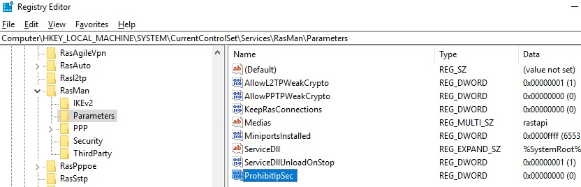 AllowL2TPWeakCrypto and ProhibitIpSec for l2tp ipsec vpn connection behind a NAT on Windows