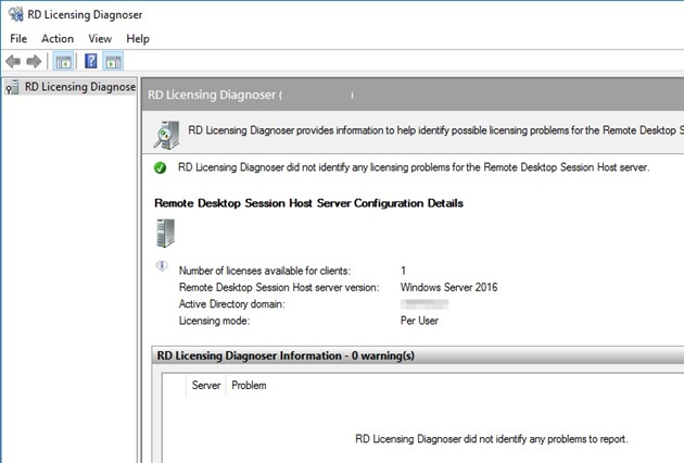 RD Licensing Diagnoser did not identify any licensing problems for the Remote Desktop Session Host server