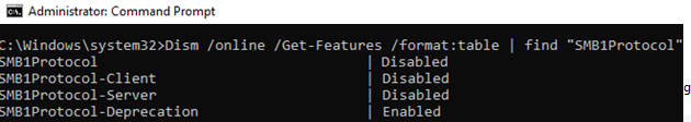 dism get SMB1Protocol state in windows 10