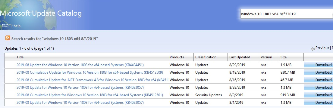 download latest windows security update from microsoft catalog