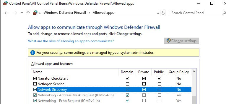enable Network Discovery on windows 10 defender firewall