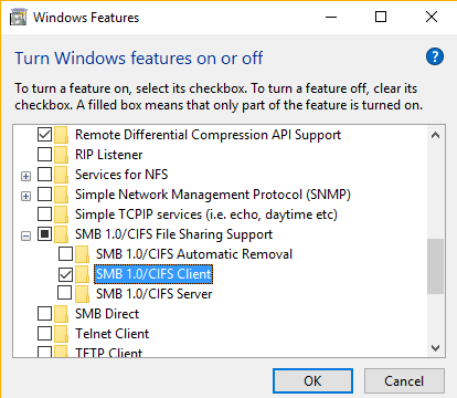 enable SMB 1.0/CIFS Client windows 10 1803