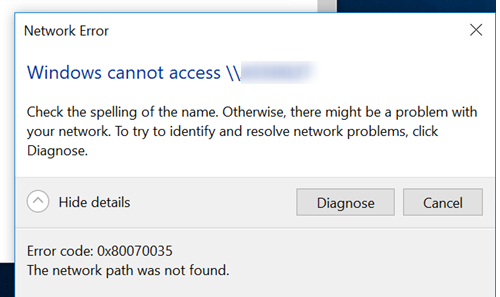 Error Code: 0x80070035 The Network Path was not Found after