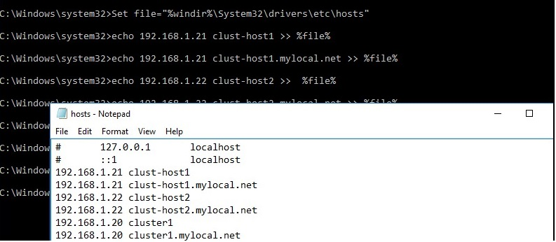 hosts file with cluster nodes addresses