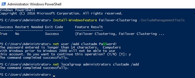 powershell install Failover Clustering feature on workgroup servers