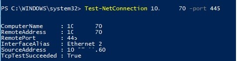 powershell testnetconnection smb share access