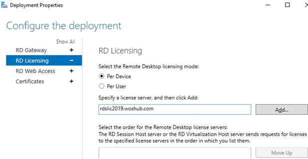 set rd license server via server manager