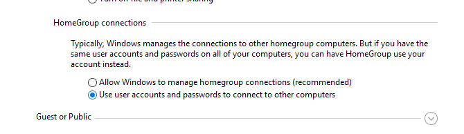 Use user accounts and passwords to connect to other computers