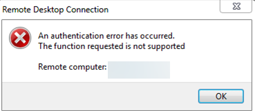 win 7 - An authentication error has occurred. The function requested is not supported