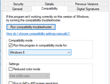 windows 10 1803 run executables from network folder in compatibility mode for Windows 8