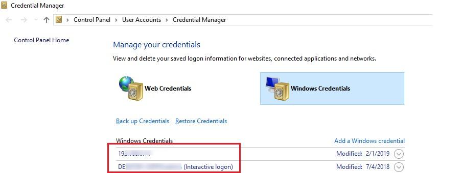 windows saved credentials