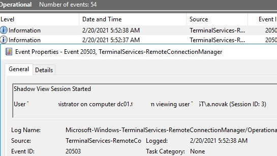 audit shadow session events in windows server event viewer
