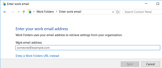 enter your work email address for work folder configuration