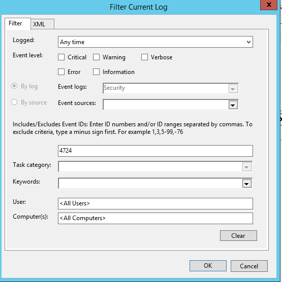 filter log eventis 4724