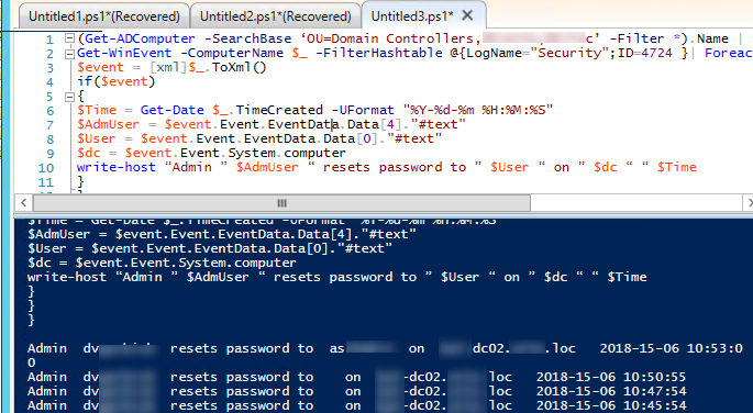 How to track who reset the password of a user in Active Directory using powershell