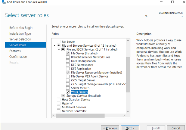 installing Work Folders Role  on Windows Server 2016