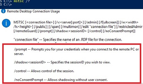 mstsc.exe - rdp shadow connection options on windows 10