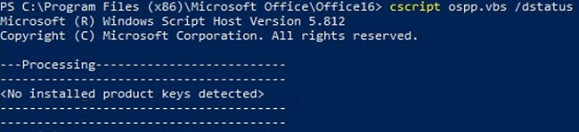ospp.vbs - no office installed product keys detected
