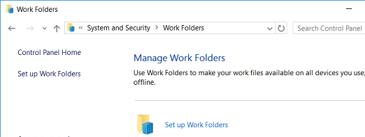 Set up Work Folders windows 10