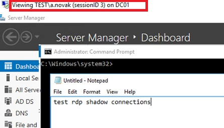 testing shadow connection to rdp user session
