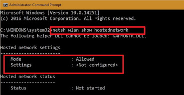 windows 10 show hostednetwork config