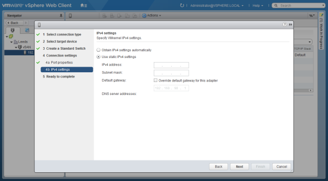 configure ipv4 address for vsan interface