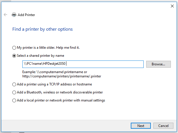 connect shared printer on windows 10 using unc path