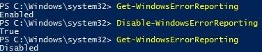 Disable-WindowsErrorReporting powershell cmdlet