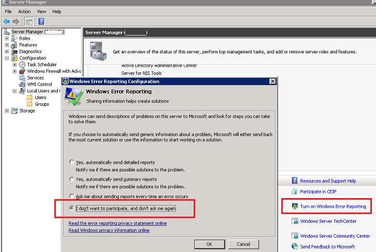 disable wer - windows 2008r2