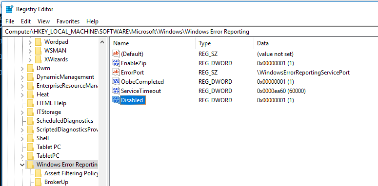 disable Windows Error Reporting in windows 10 via registry