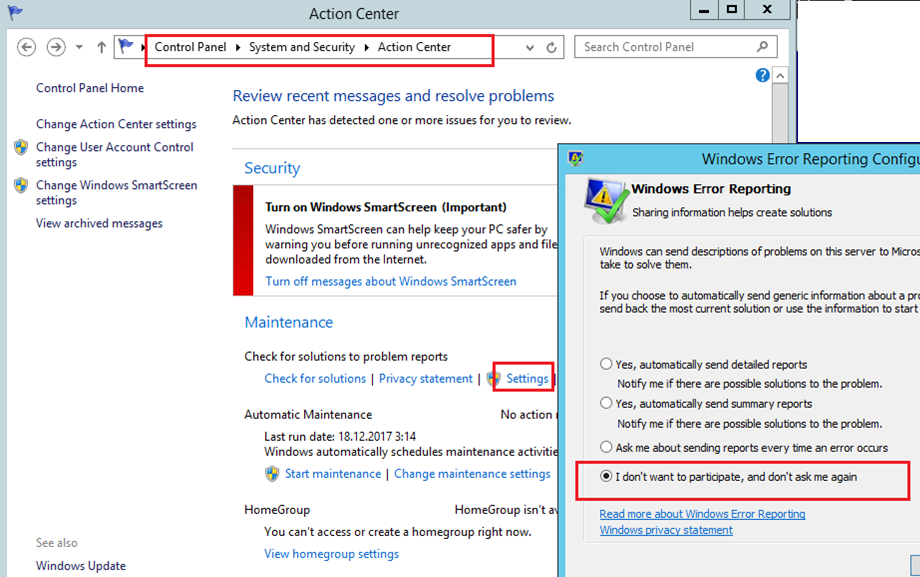 disable windows error reporting - windows server 2012r2