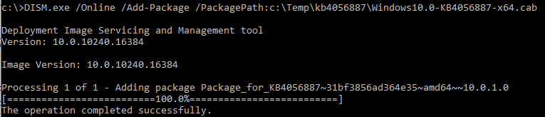 DISM.exe /Online /Add-Package - install update from cab file