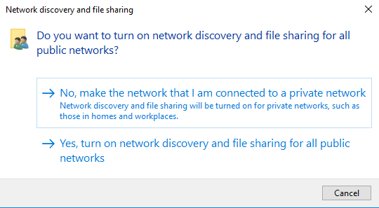 Do you want to turn on network discovery and file sharing