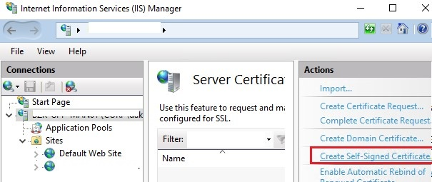 iis create self signed ssl certificate on windows server